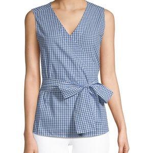 Beach lunch Lounge Gingham sleeveless blouse xs